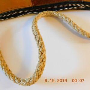 Vintage Bags - Vintage Leather Patchwork Purse Unique Rope Strap